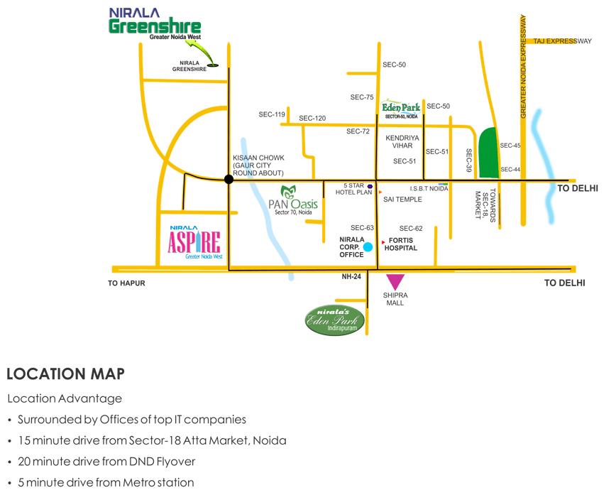 Nirala Greenshire Location Map